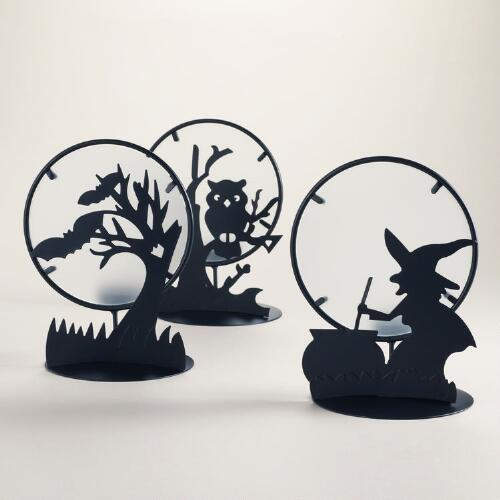 Halloween Silhouette Tealight Candleholders, Set of 3