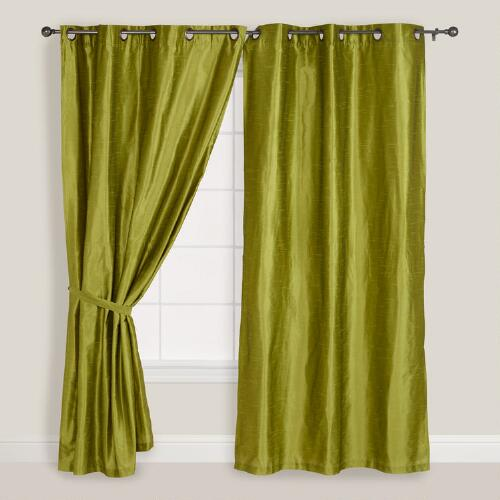 Green Dupioni Grommet Curtain