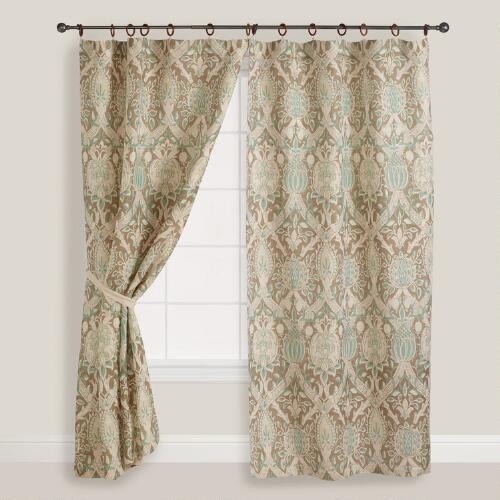 Porcelain Victoria Jute Wood Ring Curtain