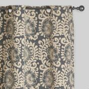 Gray Wild Hibiscus Jaipur Grommet Top Curtains, Set of 2