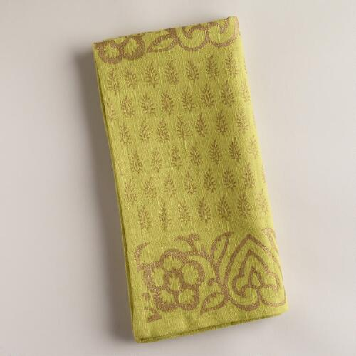 Green and Gold Sundari Napkins, Set of 4