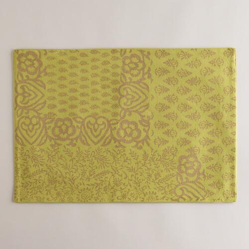 Green and Gold Sundari Placemats, Set of 4