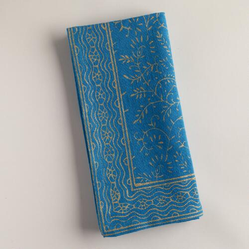 Ocean and Gold Sundari Napkins, Set of 4