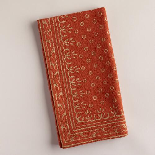 Paprika and Gold Sundari Napkins, Set of 4