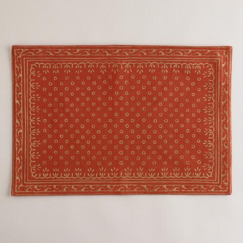 Sundari Paprika and Gold Placemat, Set of 4
