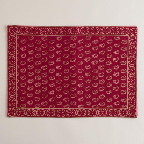 Sangria and Gold Sundari Placemats, Set of 4