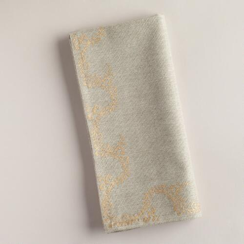 Twisted Floral Khadi Napkins, Set of 4