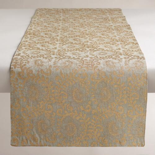 Twisted Floral Khadi Table Linen Table Runner