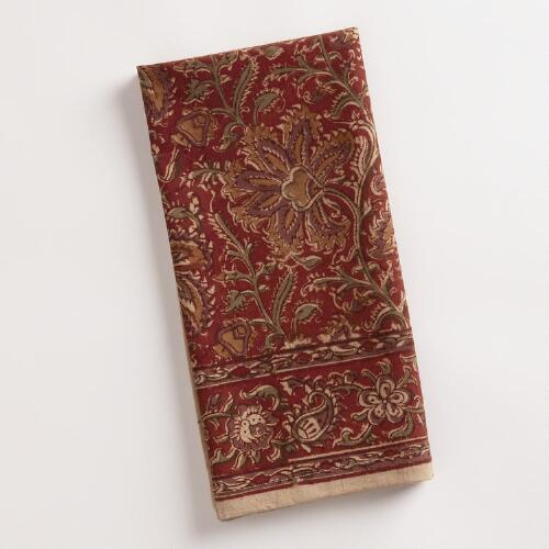Red Kalamkari Napkins, Set of 4