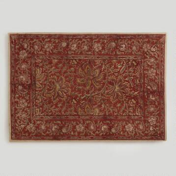 Red Kalamkari Placemats, Set of 4