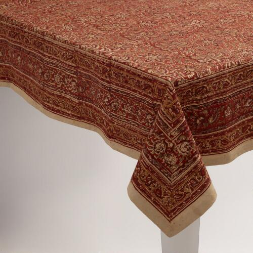 Red Kalamkari Tablecloth