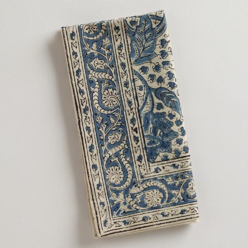 Indigo Kalamkari Napkins, Set of 4
