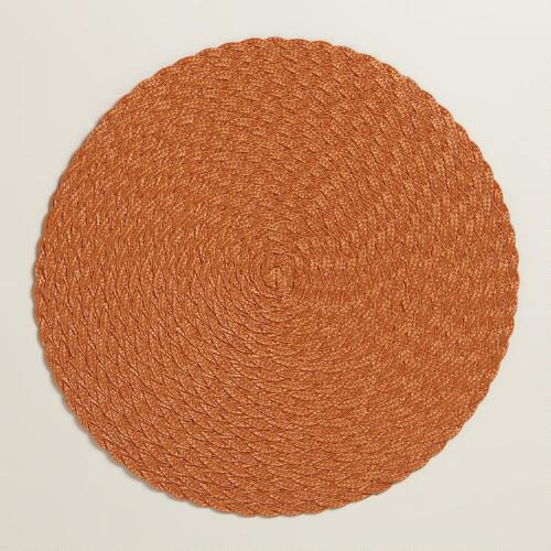 Orange Braided Round Placemats, Set of 4