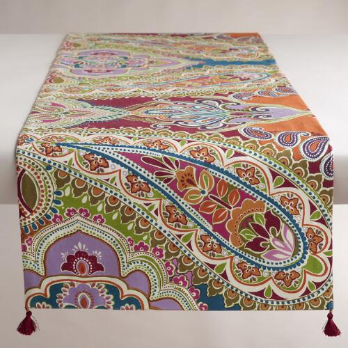 Venetian Sateen Paisley Table Runner