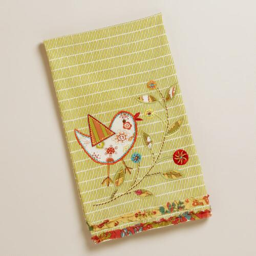 Green Applique Bird Towel