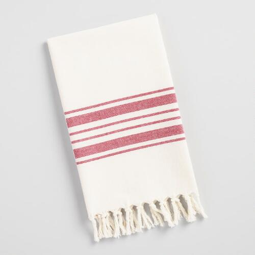 Red Villa Stripe Kitchen Tea Towel