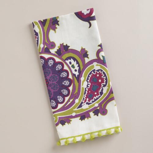 Plum Paisley Kitchen Towel