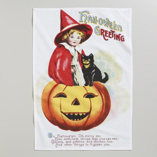 Halloween Vintage Greeting Flower Sack Towel