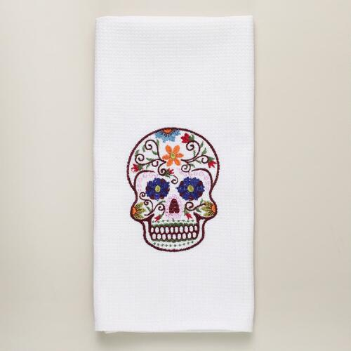 Dia De Los Muertos Embroidered Skull Kitchen Towel