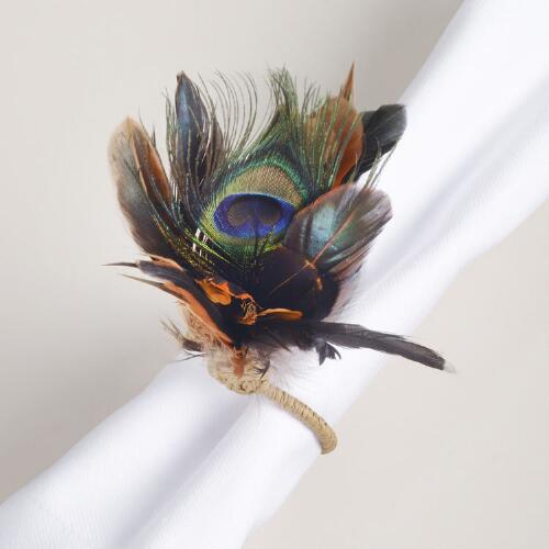 Feather Napkin Ring, Set of 4