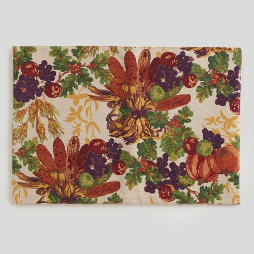 Reversible Harvest Placemats, Set of 4