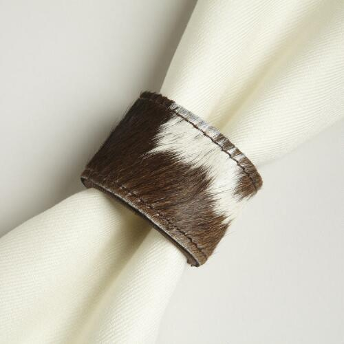 Cowhide Napkin Rings, Set of 4