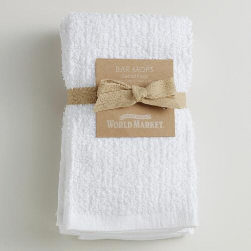 White Bar Mop Towels, Set of 4