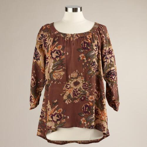 Brown Floral Sofia Blouse