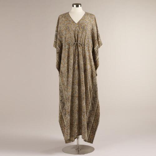 Gray and Yellow Indu Kalamkari Kaftan