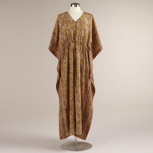 Rose and Yellow Nila Kalamkari Kaftan