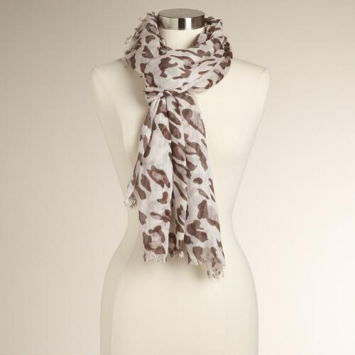 Brown- Leopard Scarf