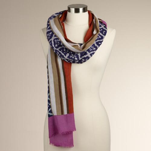 Diamond Print Scarf with Orange Border