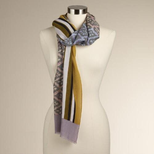 Diamond Print Scarf with Yellow Border