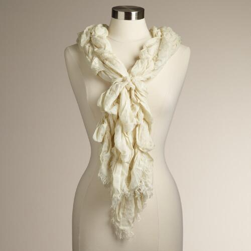 Ivory- Ruched Scarf