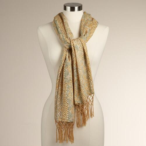 Yellow Snakeskin Scarf with Knotted Fringe