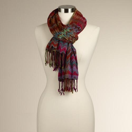 Multicolored Diamond Ikat Scarf