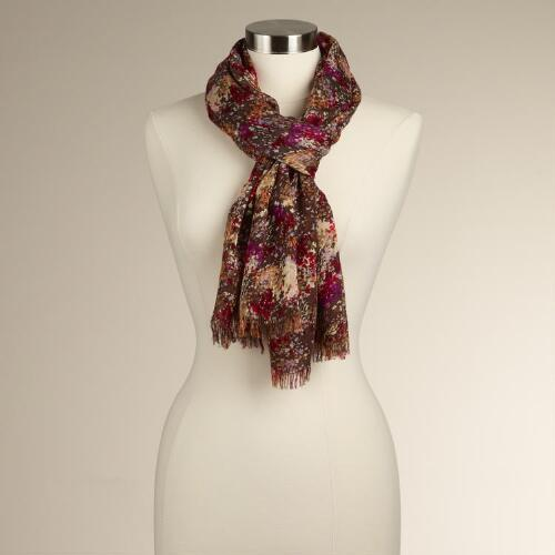 Brown Painterly Floral Scarf