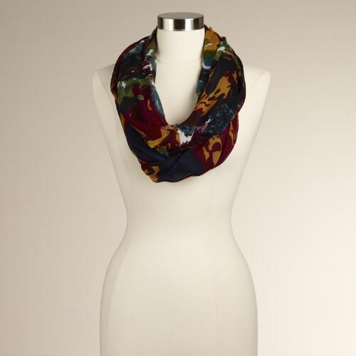 Navy Blue Oversized Floral Infinity Scarf