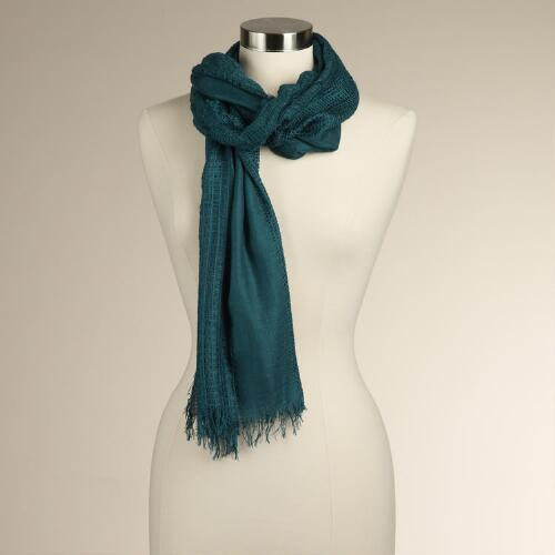 Teal Frayed Open-Weave Scarf