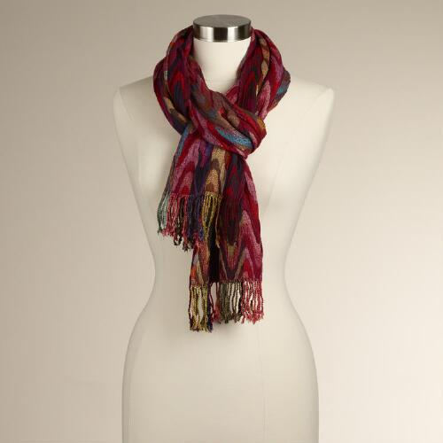 Wavy Striped Jacquard Scarf