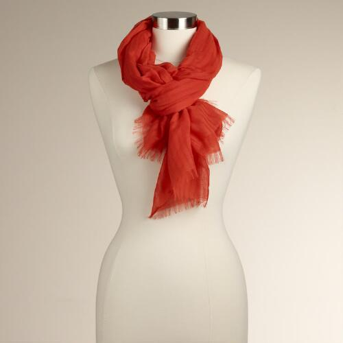 Fire Orange Burnout Stripe Scarf