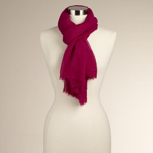Fuchsia Burnout Stripe Scarf