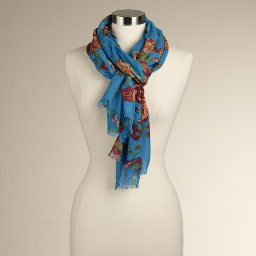 Teal Rose Scarf