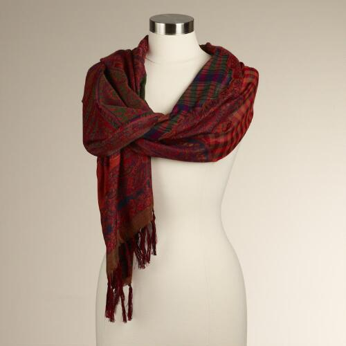 Multicolored Jacquard Paisley Scarf