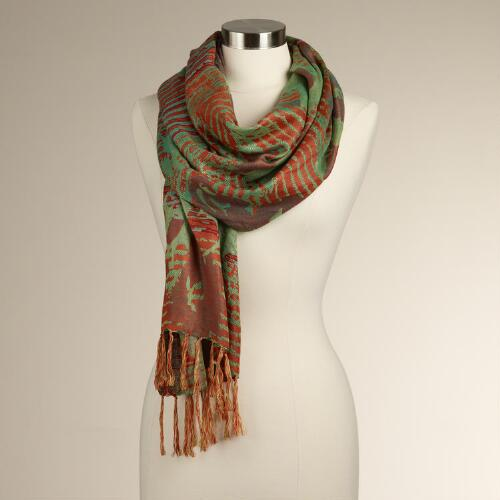 Green and Orange Jacquard Floral Scarf