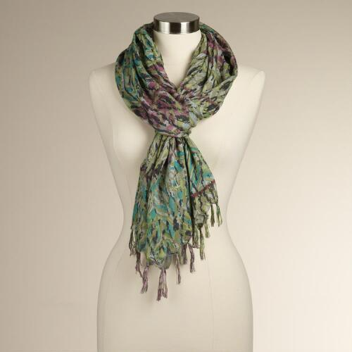 Green and Purple Paisley Scarf