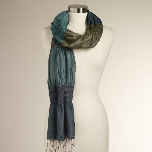 Teal and Green Puckered Scarf