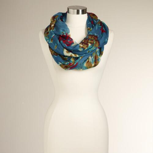 Teal Floral Infinity Scarf