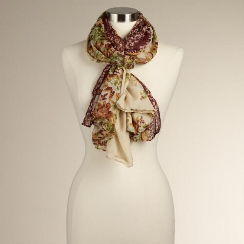 Ivory and Green Floral Borders Scarf