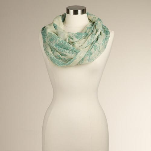 Ivory and Aqua Floral Scarf